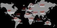 رده بندی جهانی آزادی مطبوعات ٢٠٠٩: ایران پشت دروازه سه کشور جهنمی برای ازادی مطبوعات