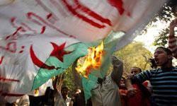مردم مصر پرچم الجزاير را به آتش كشيدند