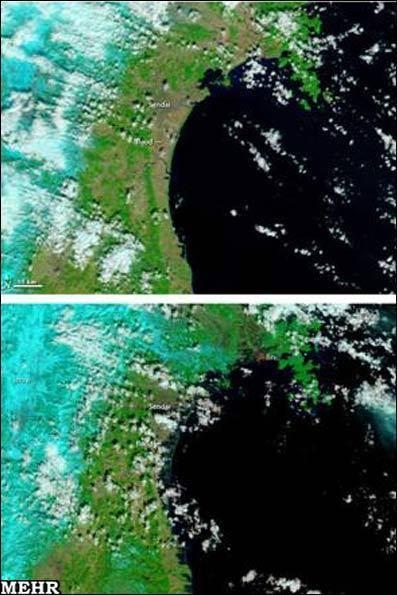 تصاویر هوایی قبل و بعد زلزله و سونامی ژاپن/ تصویر نیروگاه هستهای و خسارات