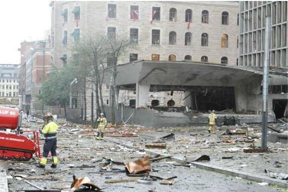 عکس / انفجار بمب در نزدیکی دفتر کار نخست وزیر نروژ