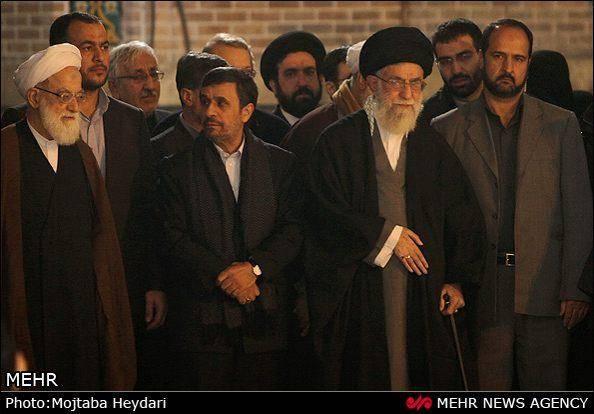 شییع آیت الله مجتبی تهرانی با حضور خامنه ای و احمدی نژاد (گزارش تصویری)