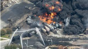 انفجار مهیب قطار سوخت در کانادا