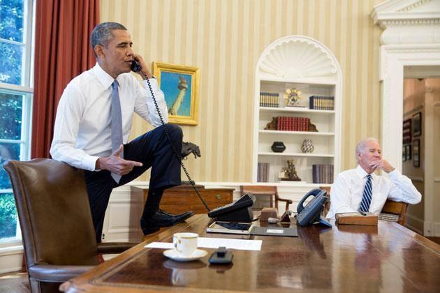 ژست چاله میدانی اوباما/عکس
