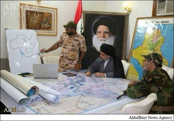 مقتدی صدر در اتاق جنگ سامراء/تصاویر