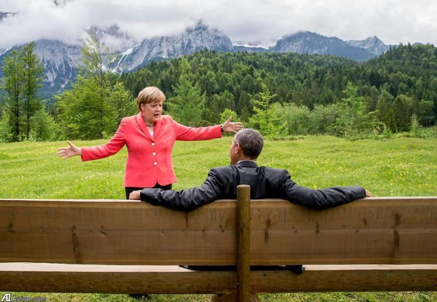 تصویری متفاوت از مرکل و اوباما (عکس)