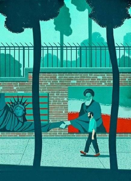 """آشتی """"امام """"با نماد آزادی آمریکایی + تصویر"""