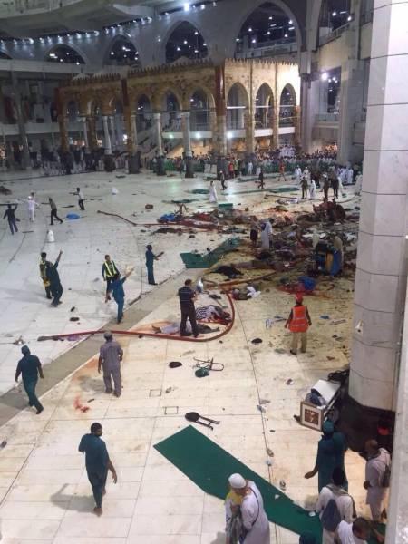 سقوط جرثقیل ساختمانی در حرم مکی بیش از 87 کشته بر جای نهاد/ 12 تن از زائران ایرانی زخمی شدند