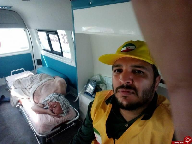 سلفی امدادگر با مجروحین منا+عکس