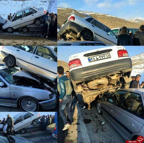 ژست جالب پراید پس از تصادف+ عکس