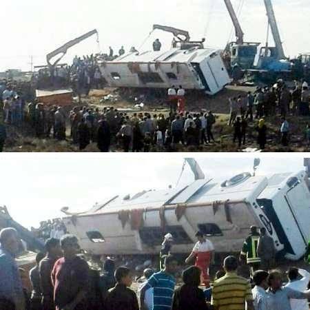 2 كشته و 43 زخمی در سقوط اتوبوس دانش آموزان دخترانه