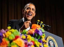 شوخی خبرنگاران با اوباما در مراسم ضیافت ویژه کاخ سفید