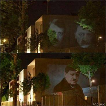 تصاویر: اردوغان و هیتلر روی دیوار سفارت ترکیه در آلمان