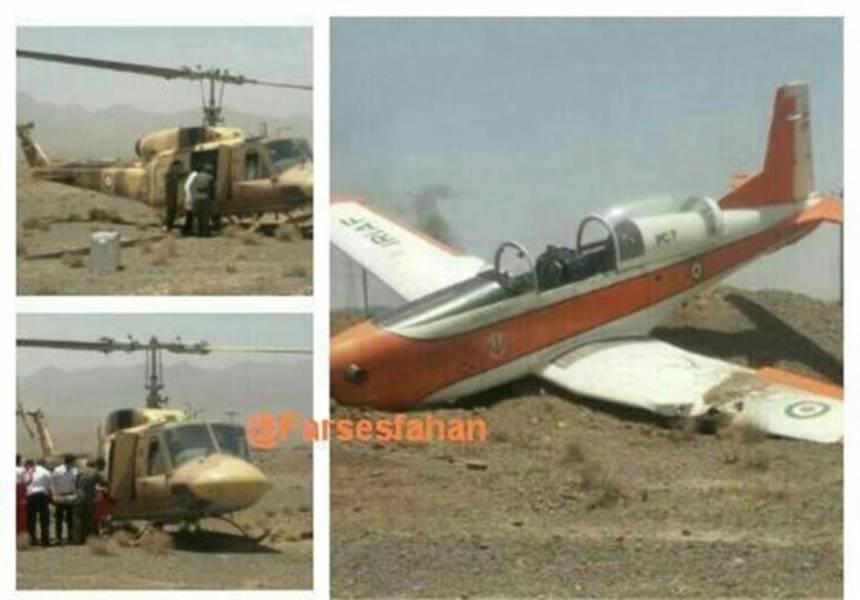 سقوط هواپیمای آموزشی در جاده اردستان +عکس