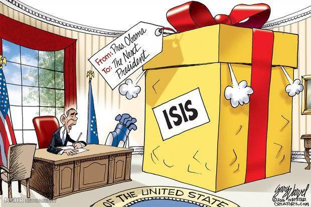 کاریکاتور: هدیه اوباما به رئیس جمهور آینده آمریکا