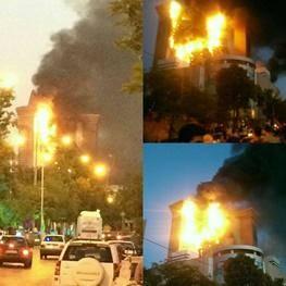 ۱۱ مصدوم در آتش سوزی برج سلمان/ مصدومیت ۷ آتش نشان