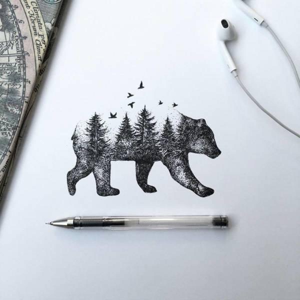 عکس/ نقاشی با الهام از طبیعت با خودکار معمولی