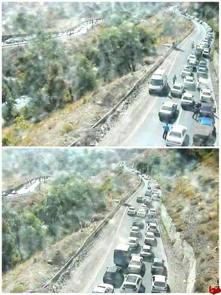 عکس: هماکنون؛ ترافیک سنگین در جاده چالوس