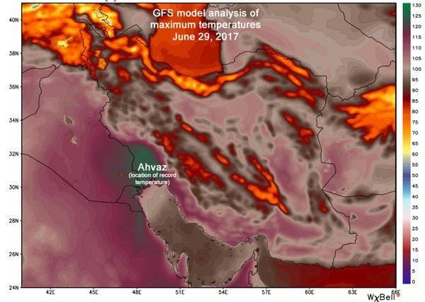 اهواز در لبه شکستن رکورد گرم ترین دمای زمین