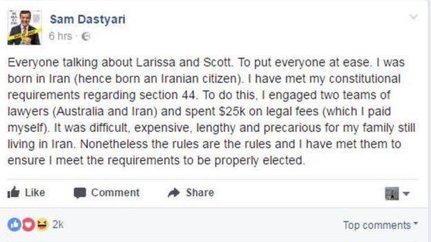 تابعیت دوگانه در استرالیا؛ دومین سناتور هم مجبور به استعفا شد/  سناتور استرالیایی متولد ایران: ۲۵ هزار دلار صرف هزینه های قانونی ترک تابعيت ايران کردم