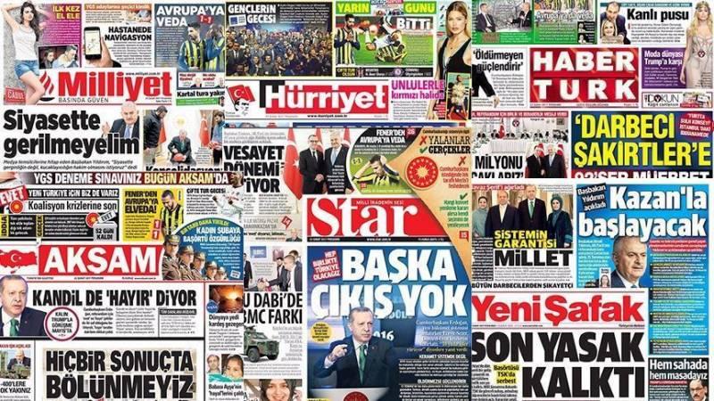 سرخط روزنامه های ترکیه / روز پنجشنبه 13 مهر ماه 1396