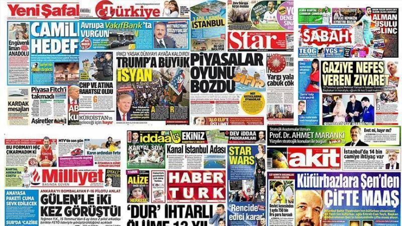 سرخط روزنامه های ترکیه / روز جمعه 14 مهر ماه 1396