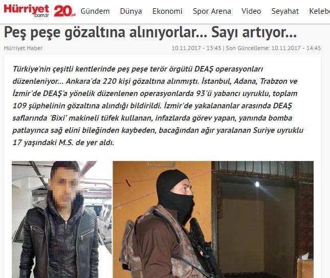 ماموران پلیس ضد ترور ترکیه 109 مظنون داعشی را دستگیر کردند