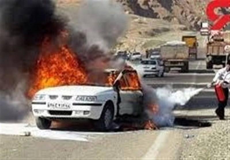 2 سرنشین یک خودرو در آتش سوختند/سوانح جاده ای همدان پنج کشته برجا گذاشت